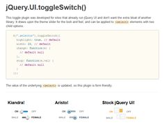 Switch button? The toggleSwitch is an easy to use, simple jQuery toggle switch…