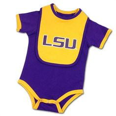 LSU Tigers Baby Body Suit and Bib #LSU #Infant #Baby #Toddler #Babyfans