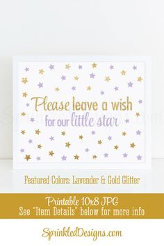 Leave A Wish for our Little Princess - Twinkle Little Star Girls Birthday Party Printable Guest Book Sign - Lavender Puple Gold Glitter 8X10