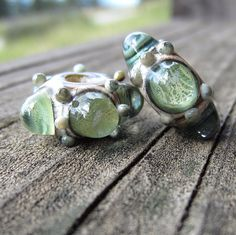 Pale Green Bubble Bead Pair