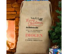MERRY CHRISTMAS PERSONALISED HESSIAN SACK - £20 - A perfect way to give your gifts on Christmas Day. Gives that rustic Christmas feel sat by a fireplace, can be used year and year again. Material is Jute. Personalise with a name up to 12 characters in length. The words 'Merry Christmas', 'Special Overnight Delivery For' and 'Delivered by Father Christmas' are fixed. All personalisation will appear in UPPERCASE. Please click on link to buy :)