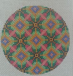 Beautiful Hand Painted HP Ornament Needlepoint Canvas 18 mesh Geometric