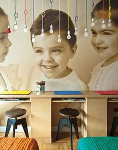 LOVE THIS!!! Lots of neat ideas for a family room, but mostly love the kids photo turned into walpaper idea.