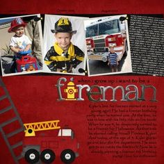 Fireman Scrapbook page