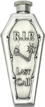 """""""R.I.P. Last Call"""" Pewter Emblem Coffin Flask Mirror Finished by Peopels Choice. $26.99. It's embellished with a large 3-D """"R.I.P. Last Call"""" emblem made of lead-free fine pewter and made in the USA. exclusive copyrighted art design.. This 3.5oz """"R.I.P. Last Call"""" coffin flask is made of heavy gauge durable 18/8 stainless steel with mirror finish.. Measures: Length 5-1/4"""" x Width 2-1/8"""" x Depth 1-1/16"""". 3.5 fluid ounce with a screw top. This """"R.I.P. Last Call"""" coffin flas... Bar Tools, Last Call, Coffin, Lead Free, Flask, Pewter, 3 D, Perfume Bottles, Tin"""