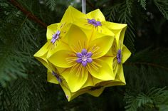 Flower ball kusudama ball handmade ornament by MyArteasure on Etsy, $20.00