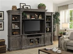 Gramercy Park 4 Piece Entertainment Wall in Vintage Burnished Smoke Finish by Parker House – - entertainment center ideas living room Parker House, Entertainment Center Wall Unit, Entertainment Center Decor, Diy Tv, My Living Room, Living Room Decor, Tv Decor, Wall Unit Decor, Decor Ideas