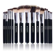 Triple Black Pro 18 PC Brush Set - Synthetic & Natural Hair with Apron - MAKEUP BRUSH SETS - BRUSHES