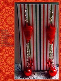 Orange Jasper & Crystal 31/2 Inch Dangle Earrings By PeleTani