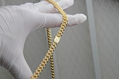 14kt Solid 7mm Fully Iced Out Cuban Chain available now on www.IFANDCO.com #CubanLink #CustomJewelry #IFANDCO