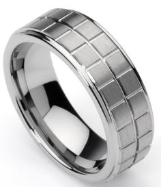 Men`s Tungsten Ring/ Wedding Band, Boxed Design, Sizes 7 - 12 by Men`s Collections (rg1) (bestseller)