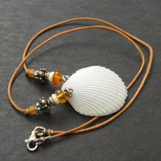 White Seashell Necklace with Genuine Amber Sterling by Giftbearer, $20.00