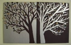 Button Tree Paintings