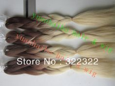 stock! factory cheap price fashion two tone brown/blonde 100% ombre kanekalon jumbo braid free shipping-in Hair Extensions | Weaves from Bea...