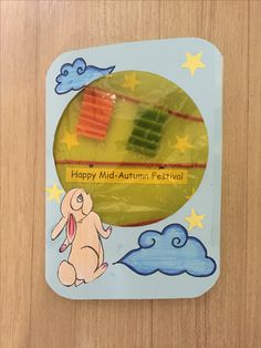 Handmade mid autumn festival card Chinese Moon Festival, Happy Mid Autumn Festival, Festive Crafts, New Year's Crafts, Autumn Activities For Kids, Holiday Activities, Toddler Crafts, Preschool Crafts, Chinese Celebrations