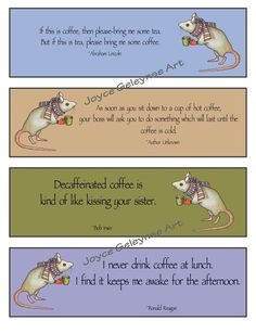 Printable Bookmarks Funny COFFEE Quotes: Mouse: Digital Download, You Print:by joyart, $3.50