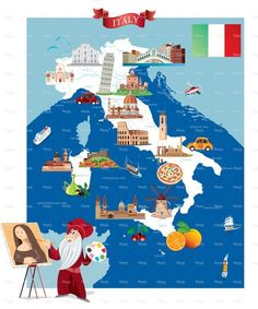 Cartoon map of ITALY on Behance