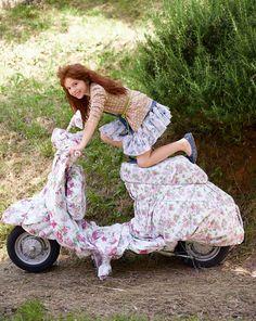 Lambretta Scooter, Vespa Scooters, Piaggio Vespa, Vespa Girl, Scooter Girl, Little Girl Fashion, Kids Fashion, Polka Dot Cardigan, Colors Of Benetton