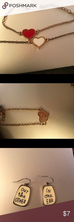 Heart bracelets and earrings Heart bracelet set and earrings never worn Jewelry Bracelets
