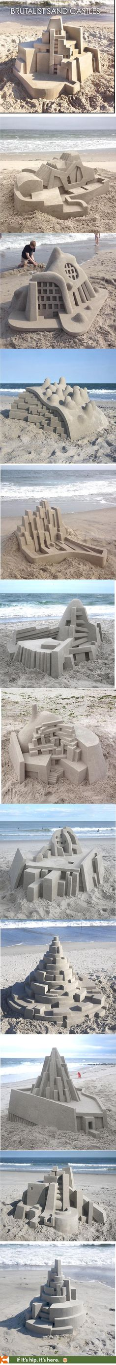 Incredible architectural sand castles inspired by Brutalism, Modernism and Constructivism. More at the link.