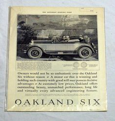 Oakland Six General Motors Sports Roadster Sat. Evening Post 1926 Print Ad