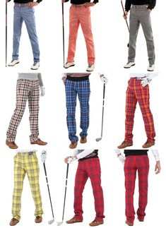 Mens plaid golf pants for men stretch comfortable tartan check vintage trousers #nyfashioncity #OtherCasualTrousers
