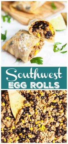 egg rolls These Southwest Egg Rolls are fun and easy to make! They're healthy and baked the oven until crispy. Egg roll wrappers are stuffed with ground turkey flavored with Mexican spices a Healthy Appetizers, Appetizer Recipes, Appetizer Ideas, Healthy Food, Dessert Recipes, Southwest Egg Rolls, Hot Chocolate Fudge, Diet Recipes, Party Recipes