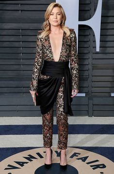 Ellen Pompeo from 2018 Vanity Fair Oscars After-Party The Grey's Anatomy star looked gorgeous in an Azzaro jumpsuit at the after-party. Greys Anatomy Derek, Estilo Glamour, Ellen Pompeo, Vanity Fair Oscar Party, Celebrity Outfits, Red Carpet Looks, Celebs, Celebrities, Red Carpet Fashion