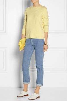 The Row | Tisa merino wool and cashmere-blend sweater | The Row|Norland mid-rise straight-leg jeans|Robert Clergerie | Embossed leather brogues | Stella McCartney | Beckett faux leather shoulder bag