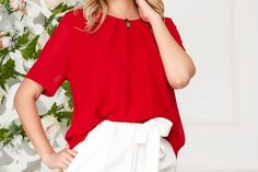 Bluza dama rosie office scurta din voal cu maneci scurte Ruffle Blouse, Long Sleeve, Sleeves, Tops, Women, Fashion, Moda, Full Sleeves, Fashion Styles
