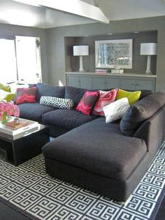 Chaise sofa - looks comfy - great for loft or family room