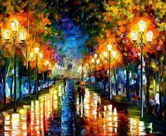 Under Brown Umbrella art print by Leonid Afremov