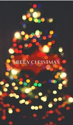 """Merry Christmas"" Blurry Christmas tree lights"