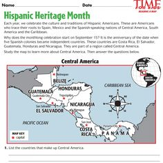For Teachers: Download sample worksheets for Hispanic-heritage-related lessons
