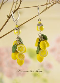 Lemon Earrings from Polymer clay jewelry Great от PommeDeNeige