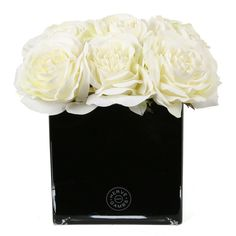 White Couture Rose  Large Black Glass Cube from Herve Gambs, Love it! #design #interiordesign #details