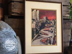 "Vintage 1960's San Francisco Framed Art Print ""Lombard Street"" Artist G. Soubeyran"