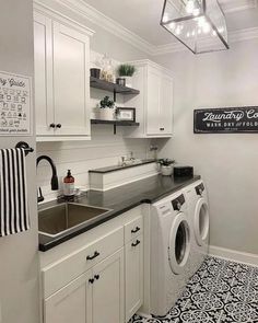 36 washroom design ideas that make you want to do laundry 19 # laundryroo . - 36 washroom design ideas that make you want to do laundry 19 # laundryroo … – 36 washroom desig - Mudroom Laundry Room, Laundry Room Layouts, Laundry Room Remodel, Farmhouse Laundry Room, Laundry Room Shelves, Laundry Room Organization, Storage Shelves, Laundry Baskets, Small Laundry