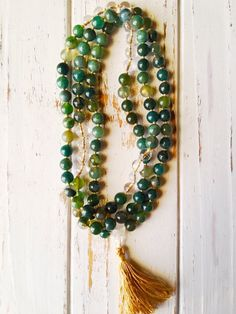 Nature Hand Crafted And Fully Balanced 108 Mala Bead Necklace The Moss Agate - A Stone of Nature - New beginnings - Promotes emotional balance and good health Crystal Bead Necklace, Crystal Beads, Beaded Necklace, Crystals, Gold Plated Bracelets, Sterling Silver Bracelets, Elephant Bracelet, Tassel Bracelet, Clear Quartz Crystal