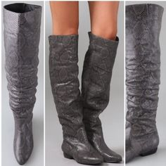 Pre-loved Pour la Victoire Snakeskin Gray Boots 9 Pre-loved Pour la Victoire Snakeskin boots in gray. Size 9. Wear to toes and sides of toes. Boots have been resoled. Gorgeous boots with plenty of life left! Real snakeskin. Pour la Victoire Shoes Combat & Moto Boots