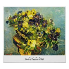 SOLD Basket of Pansies on a Table Vincent van Gogh Poster