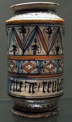 Faenza, albarello con iscrizione in lettere gotiche 'ette de reubarbaro', 1480-1500 ca..JPG