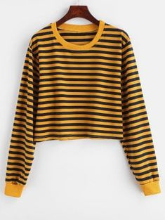 Autumn and Spring Striped Full Short Drop Crew Sweatshirt Striped Crop Drop Shoulder Sweatshirt Sweatshirts Online, Crew Sweatshirts, Hoodies, Girls Fashion Clothes, Blue Hoodie, Diy Shirt, Pop Fashion, Types Of Sleeves, Pattern Fashion