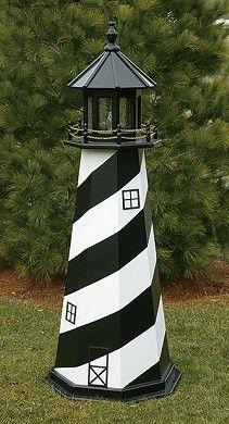 The Lighthouse Peddler - Cape Hatteras Wooden Lawn Lighthouse - Wooden Lighthouse Replicas - Ornamental Wooden Yard Lighthouse