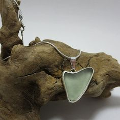Aqua Bezel Set Sea Glass Necklace by SilverandSeaJewelry on Etsy