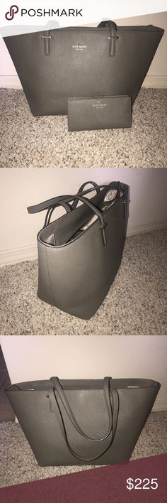 Kate Spade Purse & Wallet Grey Kate Spade Purse with matching wallet. Great shape, no tears! kate spade Bags Shoulder Bags