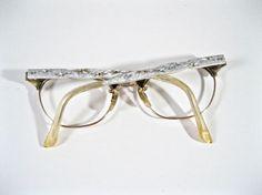 Vintage cat eye glasses w/ AB rhinestones. Starburst design.