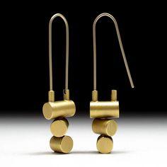 Geoffrey D. Giles Jewelry 18K yellow gold drop earrings three tubes spiraling.