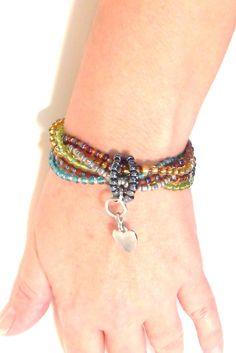 Bohemian Beaded Glass Bracelet Multi Strand Indie by Italianwench