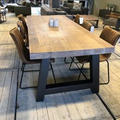 Eettafel eiken 80 mm opgedikt Dining Room Table, Tables, Rustic, Kitchen, Furniture, Home Decor, Dining Room, Dining Table, Mesas